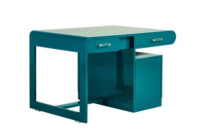 Fifties Teal Lacquered Wood Desk