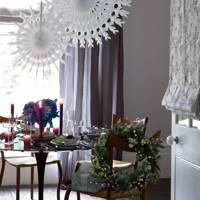 Floral centrepiece and giant paper snowflakes