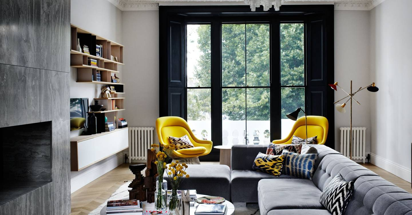 A townhouse that's a vision of mid-century & monochrome