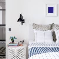 White Bedroom Blue Accents