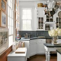 Kitchen with painted wooden cupboards