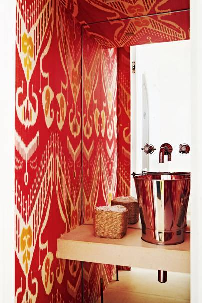 Small Red Cloakroom with Champagne Cooler Basin