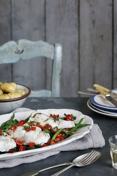 Roast cod with tomato vinaigrette