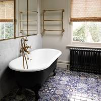Moroccan patchwork bathroom floor tiles