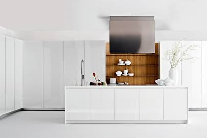 Oak Wall Shelving in White Kitchen