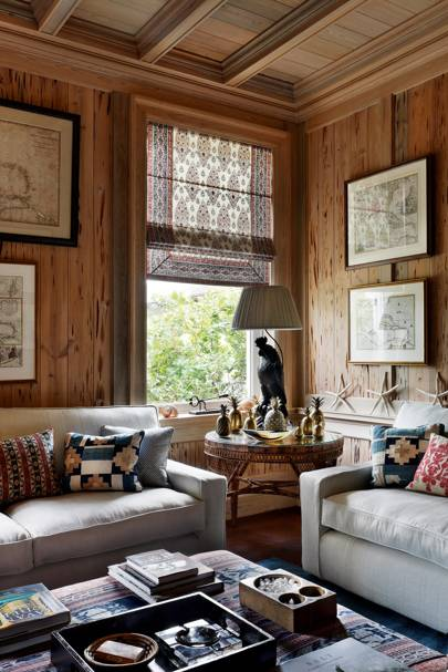 Cypress Wood Paneling in Cosy Room