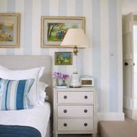 Blue and White Striped Bedroom