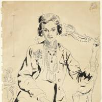 Original pen and ink drawing of Coco Chanel by Cecil Beaton (1904-1980)