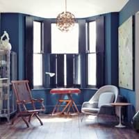 A living room of blues