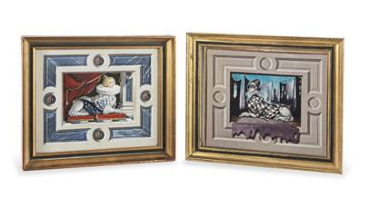 'Small Sphinx' and 'Harlequin' watercolours by Martin Battersby (1914-1982)