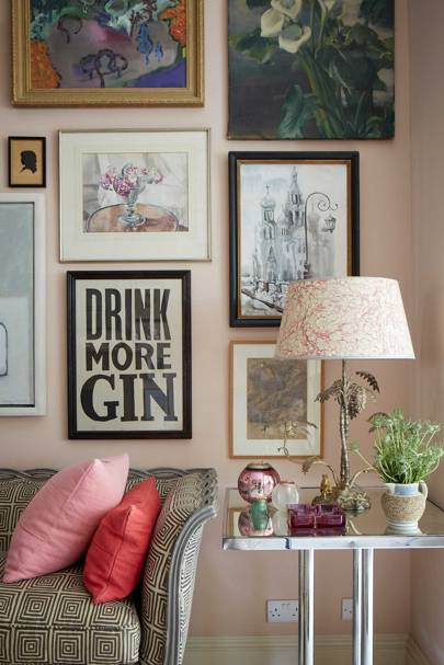 Pink Living Room Picture Wall | Decorating Ideas for Small Flats & Studio Apartments