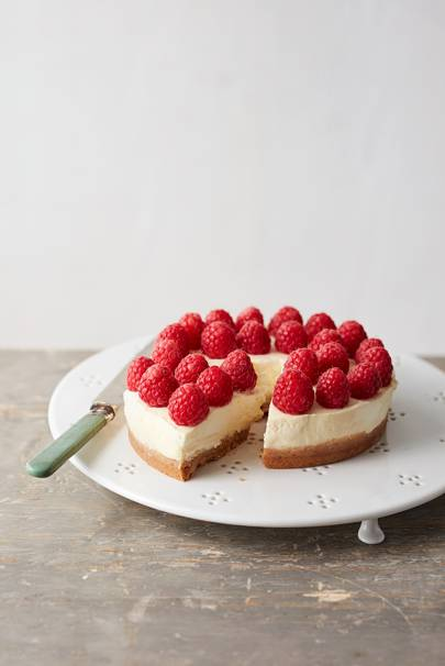 Lemon and raspberry ricotta cheesecake