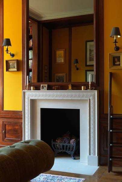 Study Fireplace - English Garden Square House