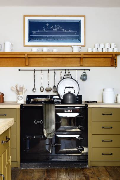Black Aga Green Wooden Units