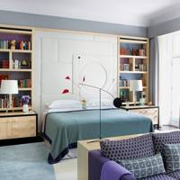 Blue bedroom with headboard