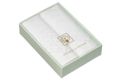 December 21: Cologne & Cotton Embroidered Handkerchiefs, Set of 2, £34