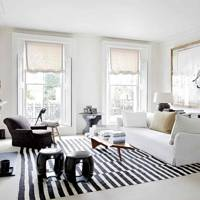 Monochrome Living Room with Striped Rug