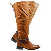 Tan Leather Ankle Buckle Boot