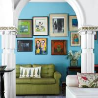 Bright Blue Feature Wall