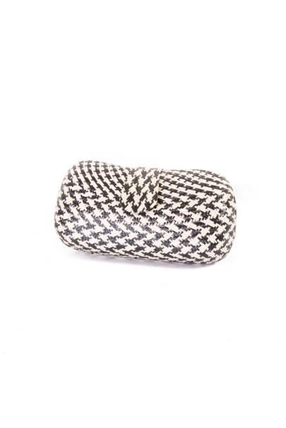 Black & Cream Woven Straw Clutch Bag by Amilu