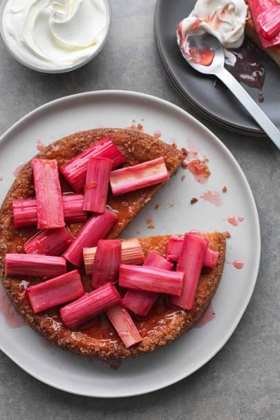 Orange and ricotta cake with vanilla-baked rhubarb