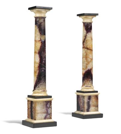 Lot 33: A Pair of George III Blue John and Alabaster Columns, late 18th century/early 19th century (estimate £3,000-£4,000)