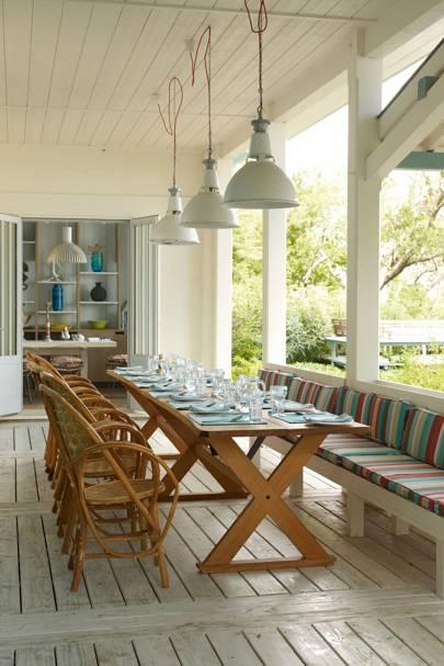 Veranda with Long Table and Pendant Lights