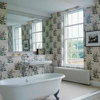 Country Bathroom with Floral Wallpaper