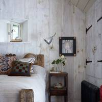 Small White Rustic Attic Bedroom