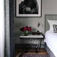 Grey Bedroom with Traditional Furnishings