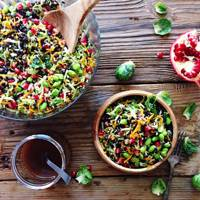 Shaved Brussels sprout, pomegranate and lentil salad