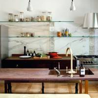 Reclaimed Splashback with Open Shelves