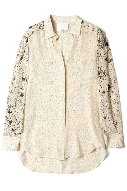 Splattered Print Silk Blouse