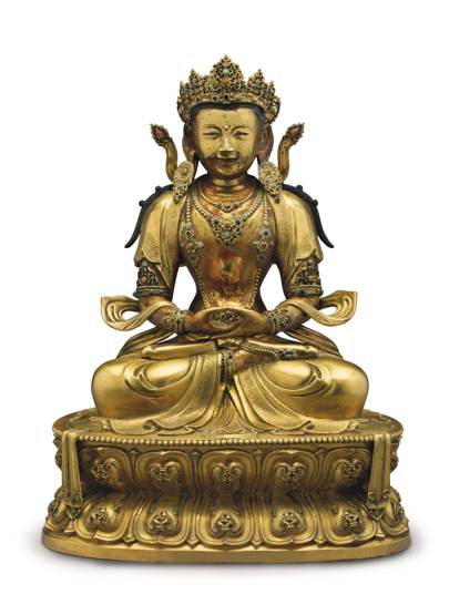 A LARGE GILT-BRONZE FIGURE OF BUDDHA
