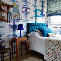 Bright Blue Pattern Wallpaper Bedroom