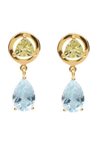 Lemon Quartz and blue topaz pendant earrings from Davina Combe