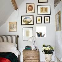 Attic Bedroom with Art Display
