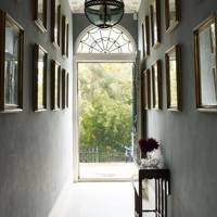 Charcoal Gallery Wall & Period Light - Hallway Design Ideas