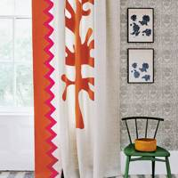 Bold Orange & White Wool Curtain