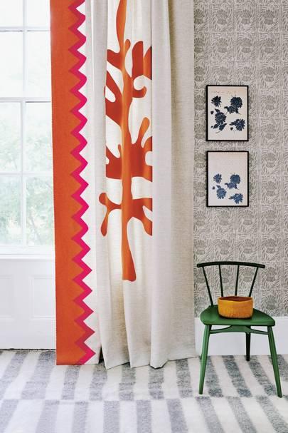 Bold Orange & White Wool Curtain