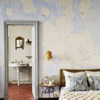 Distressed Pale Blue Walls