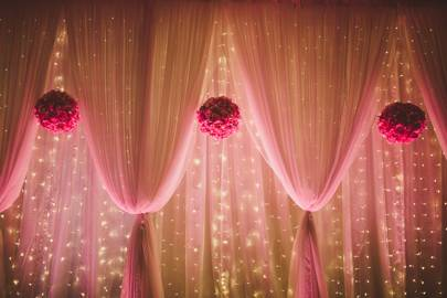 Pink Curtains and Fairy Lights