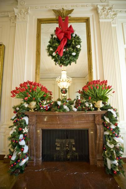Holiday decorations in the East Room of the State Floor for the Bushes' last Christmas in the White House in 2008.