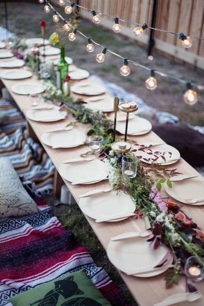 Floral Table Decoration Festoon Lights | Garden Party Ideas