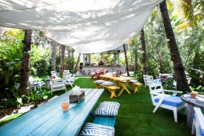 Hang a white canvas canopy for shade