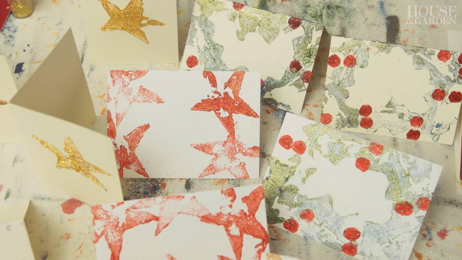 Maude makes: potato-printed Christmas cards