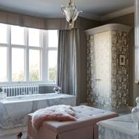 Taupe Bathroom with Marble Bath