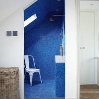 Electric Blue Mosaic Tile Wet Room