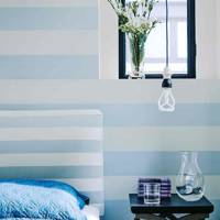 Blue & White Striped Wallpaper & Headboard
