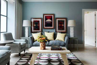 Blue-grey living room design